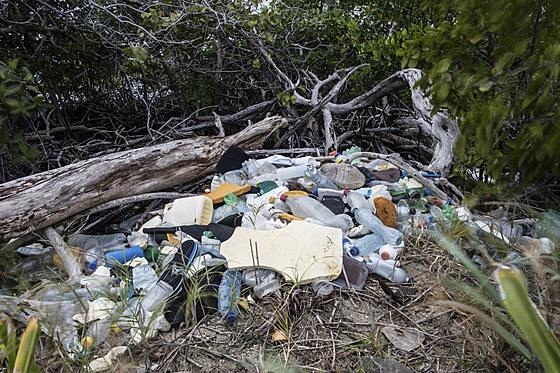 Plastikmuell verschmutzt die Meere / Plastic Waste washed up at shore
